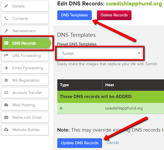 how to add a dns record