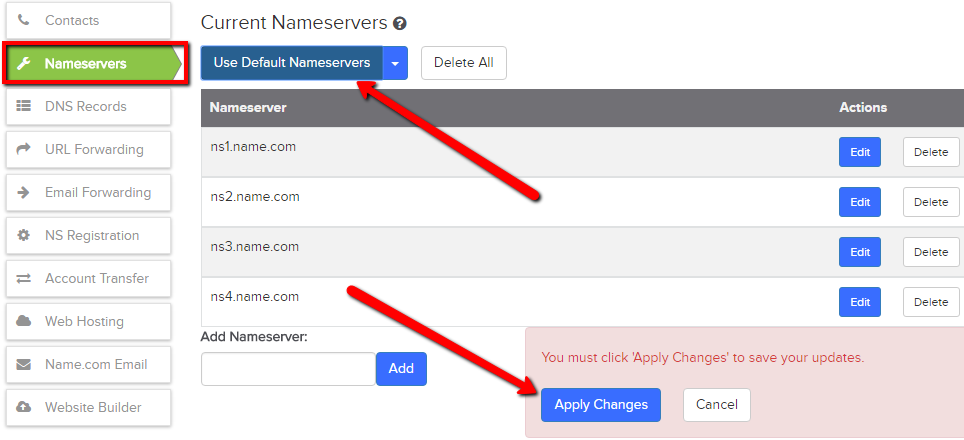 Use Name.com's default nameservers
